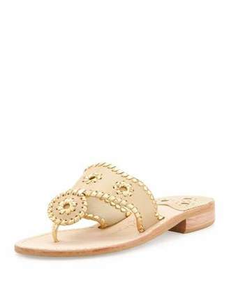 Jack Rogers Nantucket Whipstitch Thong Sandals, Camel/Gold