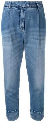 Eleventy drop-crotch folded hem jeans