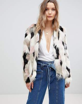 Lavand Multi COLORED Faux Fur Jacket