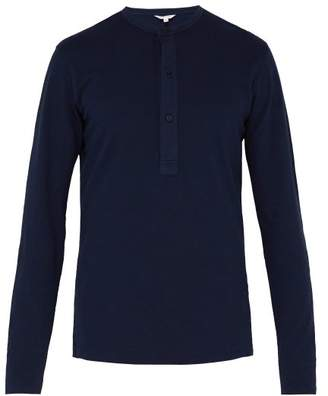 Orlebar Brown Craine Long Sleeved Cotton Henley T Shirt - Mens - Navy