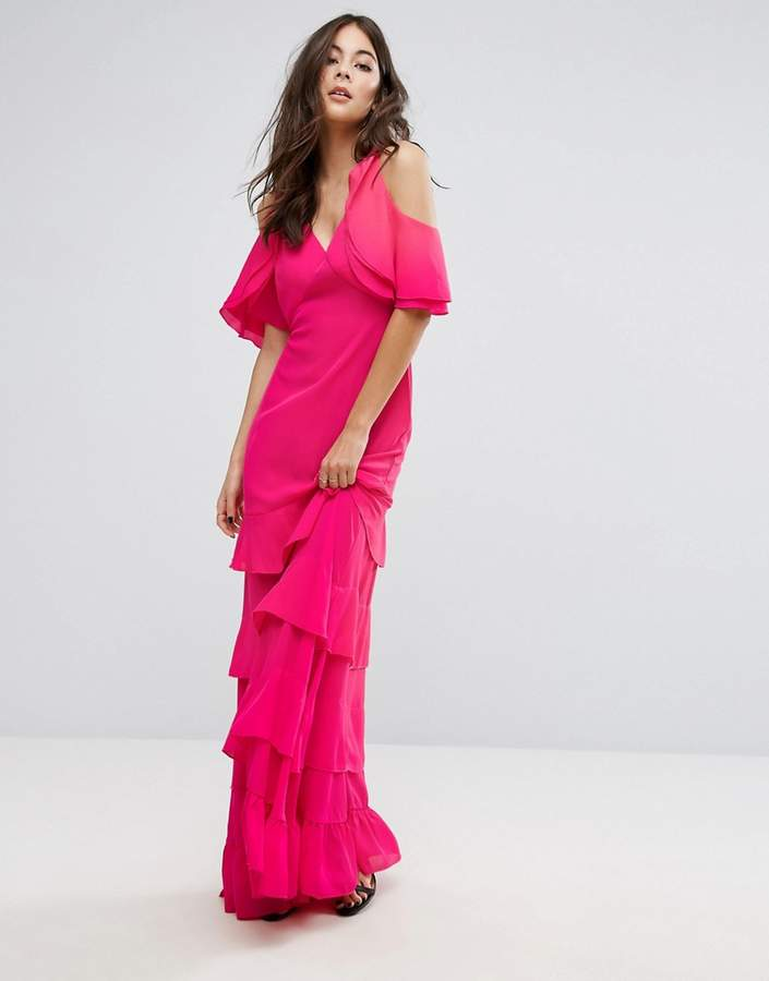 PrettyLittleThing Frill Cold Shoulder Maxi Dress