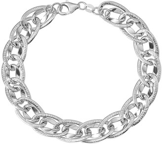 Italian Gold Oval Interlocking Link Bracelet 14K, 5.6g