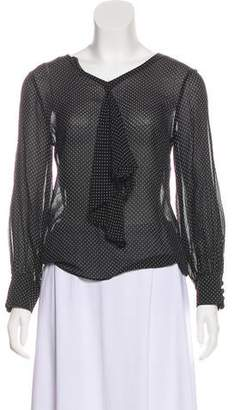 Max Mara Polka Dot Long Sleeve Blouse