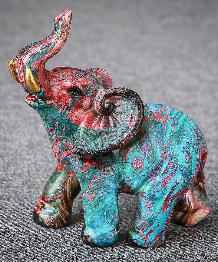 3'' Blue & Red Graffiti Elephant Figurine