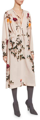 Dries Van Noten Flower-Print Long-Sleeve V-Neck Dress