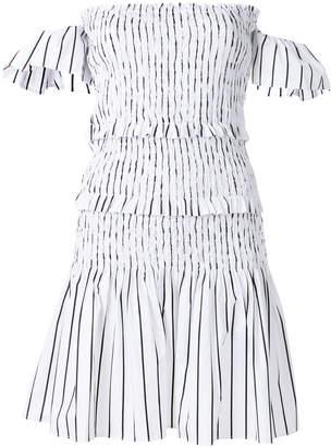 Pinko stripe cold shoulder tiered dress