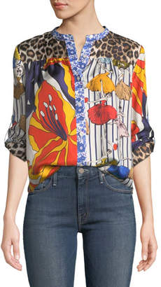 La Prestic Ouiston Peace Ballerina Mixed Print Blouse w/ Mandarin-Collar
