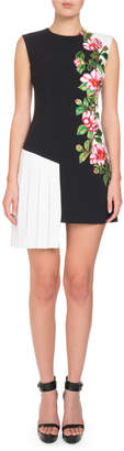 Andrew Gn Sleeveless Floral-Embroidered Side-Pleat Dress