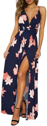 Simplee Apparel Simplee Women's Sexy Deep V Neck Long Maxi Dress Summer Beach Casual Chiffon Floral Print High Split Lace Up Backless Dress