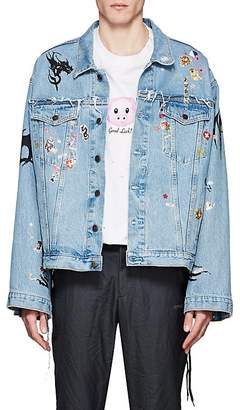 Vetements Men's Sticker-Print Denim Oversized Jacket