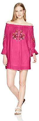 En Creme Women's Long Sleeve Off The Shoulder Embroidery Dress