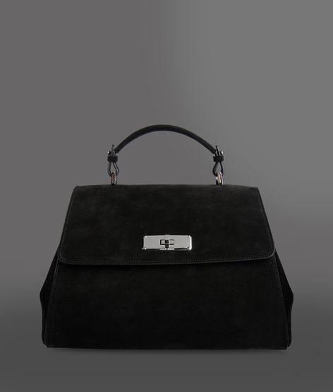 Giorgio Armani Calfskin And Velor Handbag