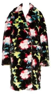 Kenzo Floral-Print Faux Fur Coat