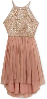 Rare Editions Lace & Mesh High-Low Dress, Big Girls