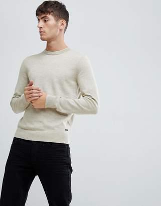 BOSS Albonok crew neck wool mix sweater in oatmeal