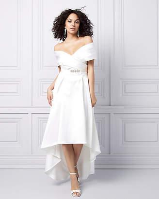 Le Château Satin Off-the-Shoulder High-Low Dress