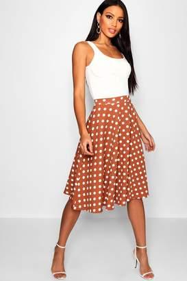 boohoo Polka Dot Full Midi Skater Skirt