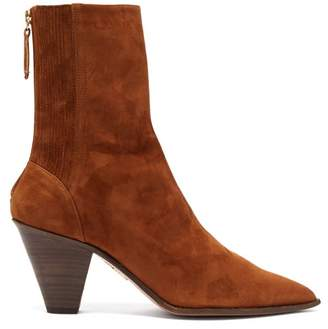 Aquazzura Saint Honore 70 Pointed Toe Suede Boots - Womens - Tan