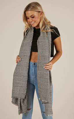 Showpo Mysterious Ways wrap scarf in grey check Scarves
