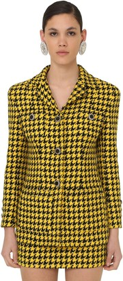Alessandra Rich HOUNDSTOOTH LACQUERED BUTTON JACKET