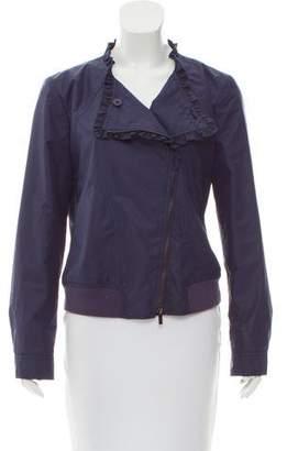 Armani Collezioni Ruffle-Trimmed Moto Jacket