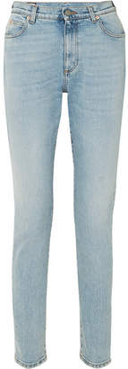 Gucci Embroidered High-rise Skinny Jeans - Blue