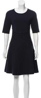 Lela Rose Eyelet-Paneled Fit & Flare Dress