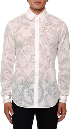 Versace Men's Sheer Jacquard Logo Sport Shirt