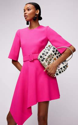 Oscar de la Renta Primrose Drape Front Mini Dress With Belt