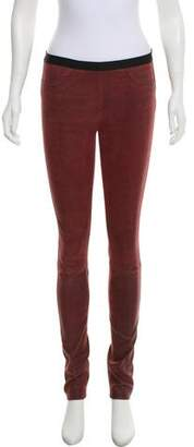 Helmut Lang Leather Mid-Rise Skinny Pants