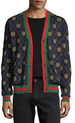 Gucci Tiger Argyle Wool Cardigan