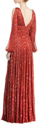 J. Mendel V-Neck Puff-Sleeve Fitted-Waist Metallic-Dot Evening Gown