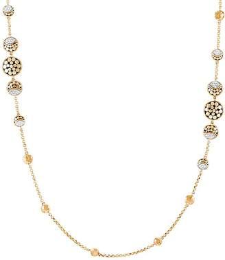 """John Hardy Hammered 18K Yellow Gold Dot & Pavé Diamond Necklace, 36"""""""