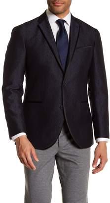 Kenneth Cole Reaction Blue & Black Jacquard Two Button Notch Lapel Evening Trim Fit Jacket