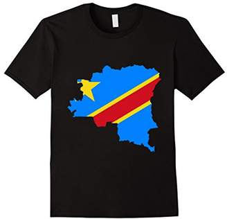 Congo DRC Country National Flag Outline T-shirt