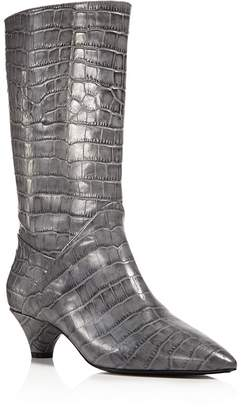 Marni Croc Embossed Tall Pointed Toe Boots