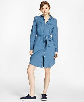 Cotton Chambray Shirt Dress $88 thestylecure.com