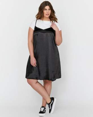 Addition Elle L&L X Jordyn Woods Sleeveless Multi Strap Swing Slip Dress