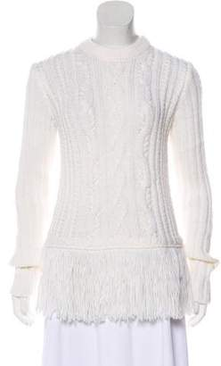 Tory Burch Fringe-Trimmed Cable Knit Sweater
