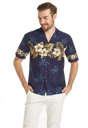 Hawaii Hangover Made in Hawaii Men's Hawaiian Shirt Aloha Shirt Golden Hibiscus Cross in Navy