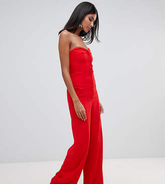 Asos (エイソス) - ASOS Tall ASOS DESIGN Tall bandeau sweetheart jumpsuit with button & buckle detail