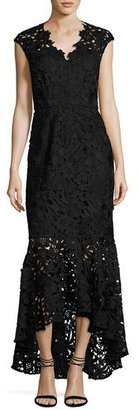 Shoshanna Evangelina Cap-Sleeve Floral Lace Gown, Jet $580 thestylecure.com