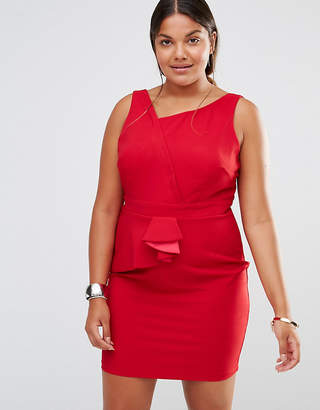 Little Mistress Plus Asymmetric Pleat Detail Pencil Dress