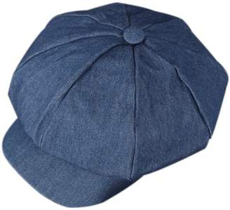 750a99fa ZLS Women's Retro Washed Denim Peaked Newsboy Cap Cabbie Hats