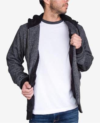 JEM Men's Marled Zip Up Sherpa-Lined Fleece Hoodie