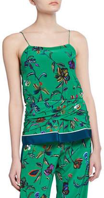 Derek Lam 10 Crosby Floral-Print Twist-Waist Silk Camisole