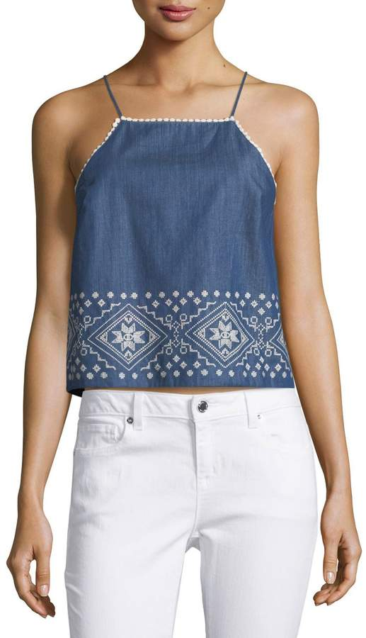 J.O.A. Embroidered Square-Neck Top