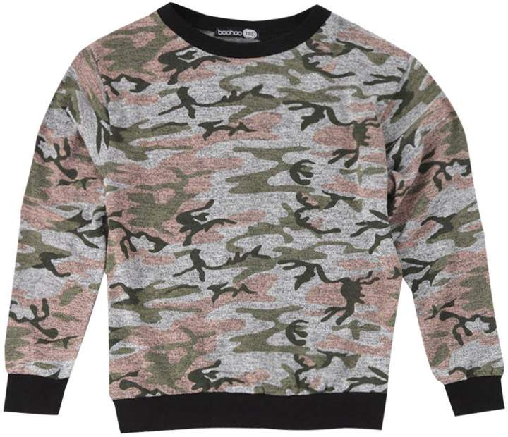 Boys Washed Camo Sweater