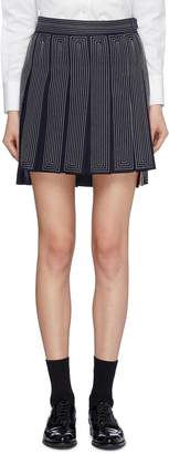 Thom Browne Contrast geometric topstitching pleated wool high-low skirt