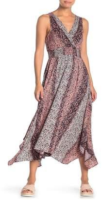 Angie Printed Handkerchief Hem Midi Dress